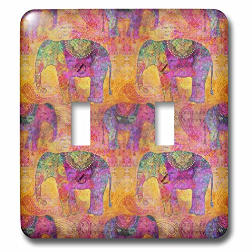 3dRose Andrea Haase Animals Illustration - Pattern of elephants India style in warm colors - Light Switch Covers - double toggle switch (lsp_266473_2) by 3dRose