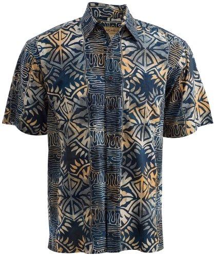 Geometric Evening Tropical Hawaiian Batik Cotton Shirt By Johari West