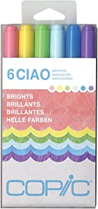 Copic Marker I6-BRIGH Ciao Markers, Brights, 6-Pack