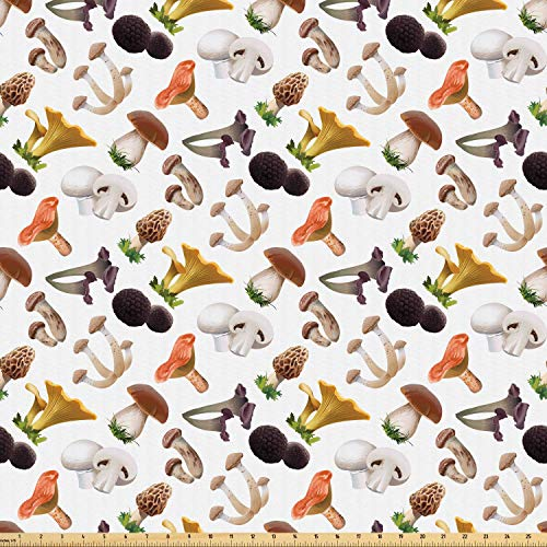 Ambesonne Mushroom Fabric by The Yard, Realistic Style Various Kinds of Fresh Toadstools Truffles Natural Lifestyle Cook, Microfiber Fabric for Arts and Crafts Textiles & Decor, 1 Yard, Multicolor