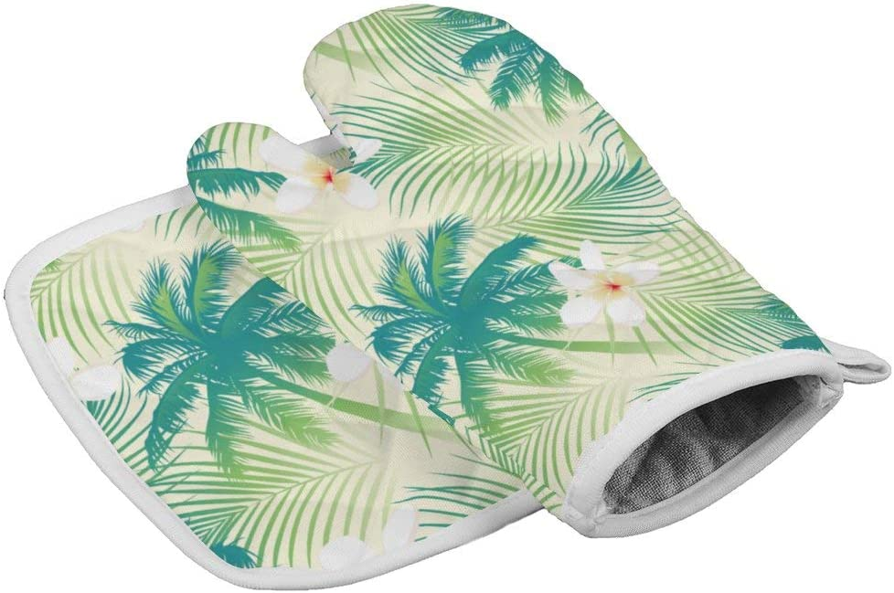Palm Tree Leaf Oven Mitts,Professional Heat Resistant Microwave BBQ Oven Insulation Thickening Cotton Gloves Baking Pot Mitts with Soft Inner Lining