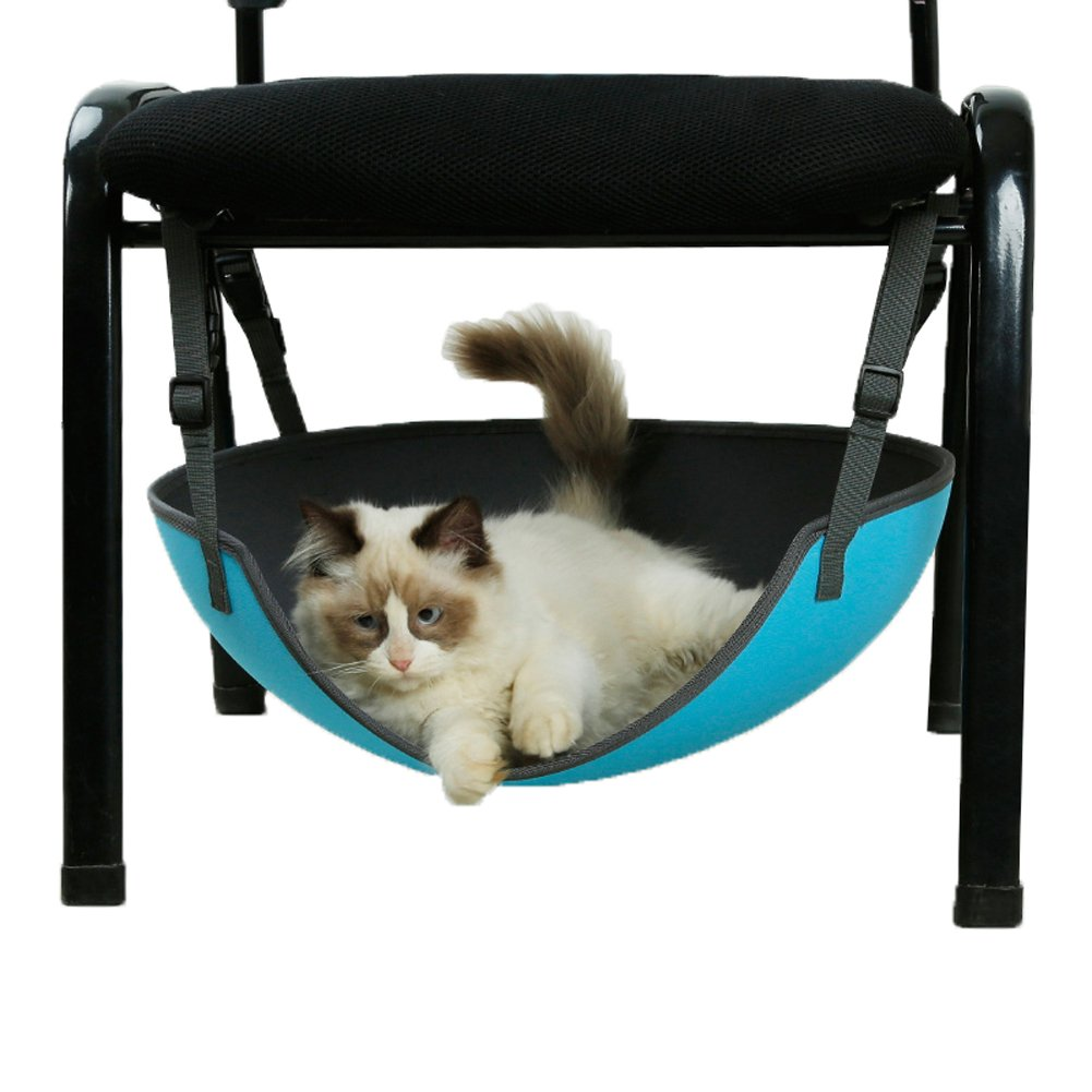QBLEEV Water Resistant Cat Hammock Bed,Hair Free EVA Strong Hanging Hammock for Cats Kittens Blue