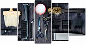 LevvArts - Large 5 Pieces Modern Canvas Painting Wall Art Hair Cutting Tools on Wooden Background Picture Giclee Artwork Scissors Poster Stretched for Barbershop Decor