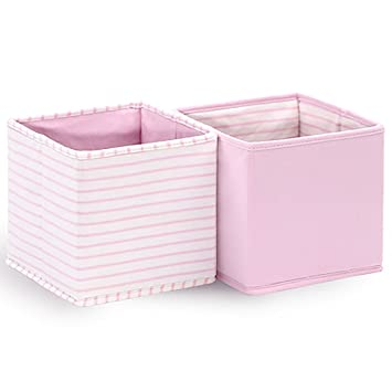 Superbe Baby Nursery Storage Cloth Totes/Bins 2 Pack In White And Pink Stripes And