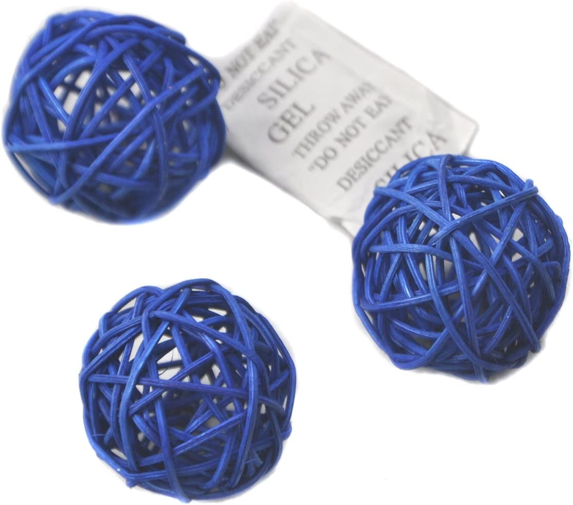 Set of 6 Wicker Rattan Balls Table Wedding Party Christmas Decoration (Diameter 3.2 Inch, Blue)