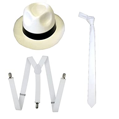 8e09d576 WickedFun® ADULT MEN GANGSTER WHITE HAT TIE BRACES SET FELT TRILBY AL CAPONE  MAFIA 1920s FANCY DRESS PARTY ACCESSORIES (3 Pieces Full Set):  Amazon.co.uk: ...