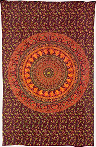 Luna Bazaar Devi Elephant Mandala Tapestry, Bohemian Wall Hanging, and Bedspread (Medium, 4.5 x 7 Feet, Orange and Green, 100% Cotton, Fair Trade Certified)
