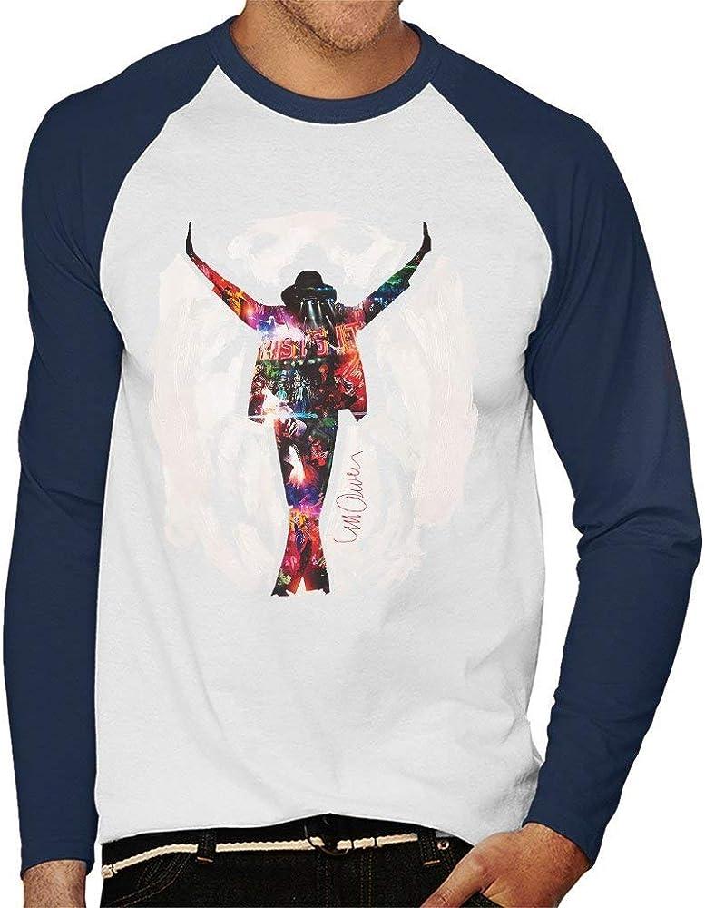 VINTRO Michael Jackson Este es el béisbol Manga Larga de la Camiseta de los Hombres It Original Portrait por Sidney Maurer (Blanco/Azul Marino, S): Amazon.es: Ropa y accesorios