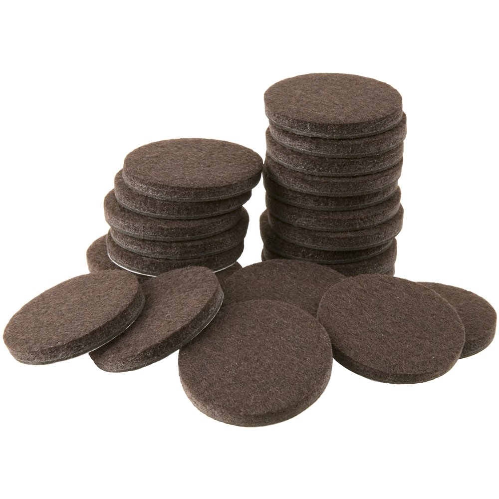 SoftTouch 4728395N 1-1/2 Inch, Brown, 24 Pack Heavy Duty Felt Furniture Pads-Protect Hardwood and Linoleum Floors frim Scratches, 24 Piece