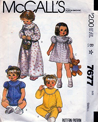 Mccalls 7677 Sewing Pattern Vintage Curved Yokes Front and Back Gathered Nightgown Dress Short or Long Rompers Puff Sleeves