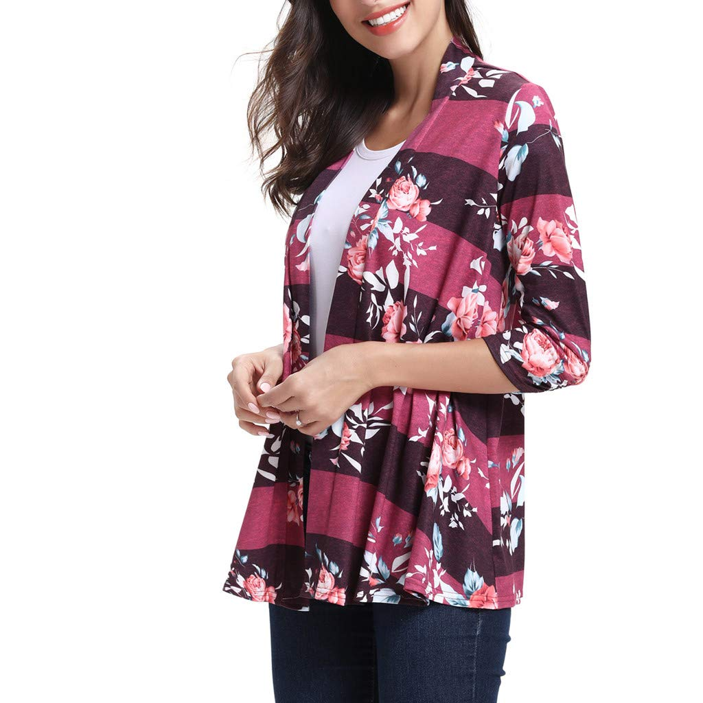 PAQOZ Womens Ladies Casual Bohemian Printed Three Quarter Sleeve Lace Panel Cardigan Top