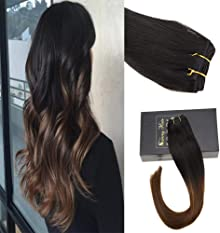 Sunny 14inch Sew in Hair Extensions Human Hair Ombre Natural Black to Dark Brown Ombre human hair extensions Bundles Remy Human Hair One Bundle 100G