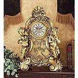 """19"""" French Rococo Cherub Mantle Decorative Table Clock"""
