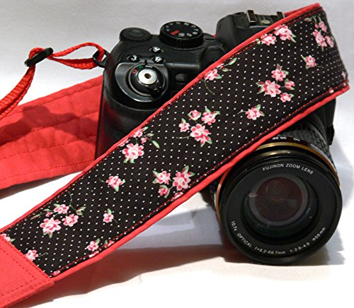 Polka Dot Camera Strap. Flowers Camera Strap. DSLR Camera Strap. Universal Camera Strap. Camera Accessories; 251