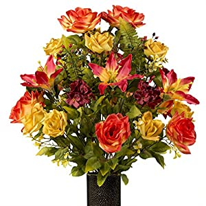 Sunset Orange Rose with Stargazer Lily, featuring the Stay-In-The-Vase Design(C) Flower Holder (LG1929) 9