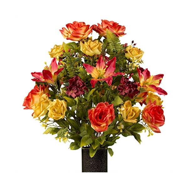 Sunset-Orange-Rose-with-Stargazer-Lily-featuring-the-Stay-In-The-Vase-DesignC-Flower-Holder-LG1929