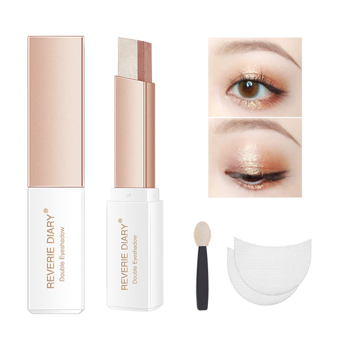 Three-piece eyeshadow stick eyeshadow prush eyeshadow sticker, eyeshadow stick two-color gradient glitter eye shadow pen rotating design, simple makeup, waterproof and not Blooming (RoseGold)