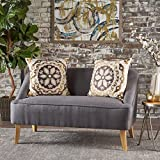 Jasper Mid Century Modern Fabric Loveseat (Dark Grey)