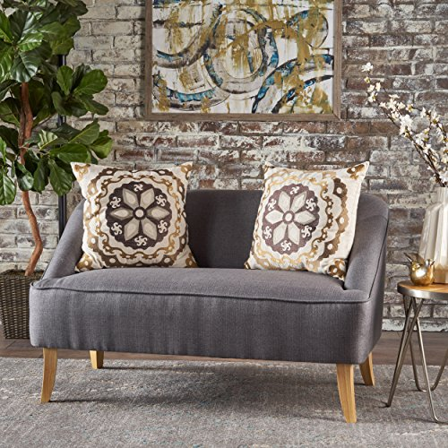 Christopher Knight Home 302028 Jasper Mid Century Modern Fabric Loveseat (Dark Grey), (Chesterfield Sofa Blue)