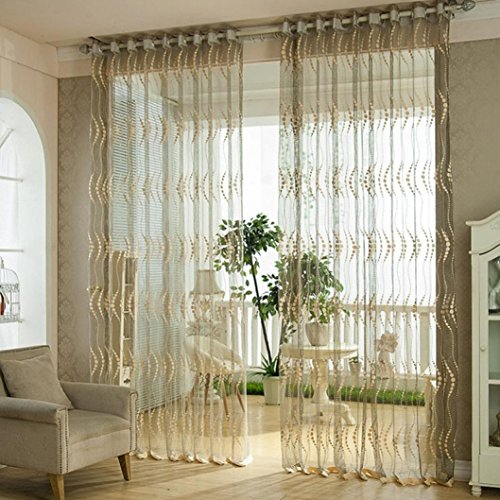 1Pc Floral Door Window Voile Tulle Valance Curtain (Coffee) - 5