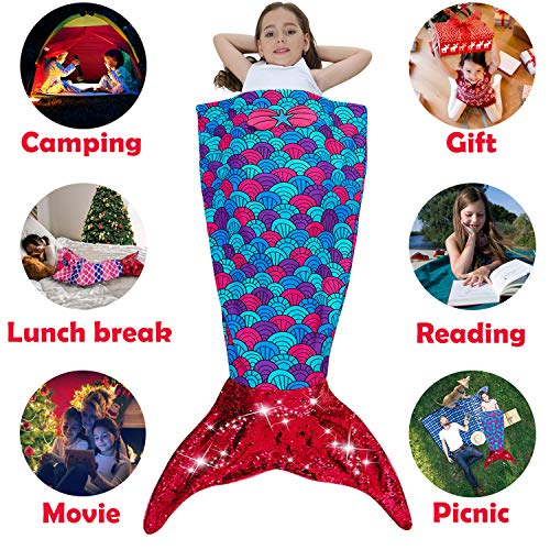 Camlinbo St. Patrick's Day Mermaid Blanket for Kid's Fleece Wearable Blankets Soft All Seasons Sleeping Bags Blanket Best Gift for Girls Birthdays Party, Great for Home Bedroom (Best Cyber Monday Deals On Washers And Dryers)