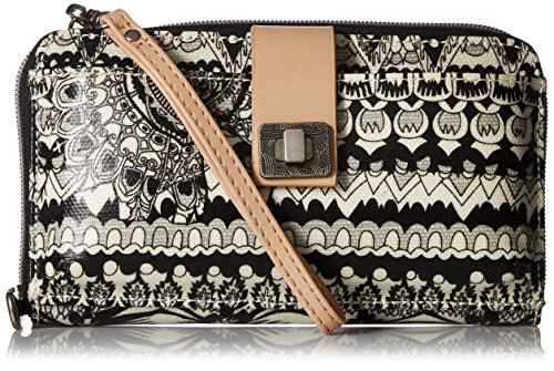 Sakroots Artist Circle Large Smartphone Cross-Body Phone Wallet, Black/Amp/White One World ()