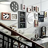 Black and white photo wall / photo wall combination / simple modern European living room photo frame photo frame 9 box 180 66cm ( Color : B )