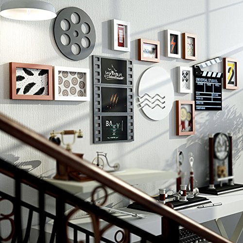 Black and white photo wall / photo wall combination / simple modern European living room photo frame photo frame 9 box 180 66cm ( Color : B ) by Photo Wall
