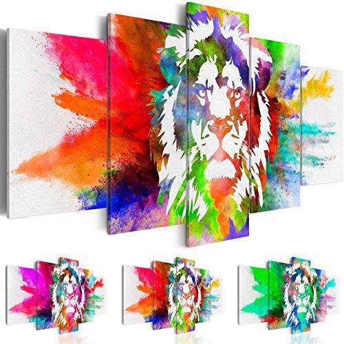 Bilder 200x100 cm - 3 Farben zur Auswahl - XXL Format - Fertig Aufgespannt - TOP - Vlies Leinwand - 5 Teilig - Wand Bild - Kunstdrucke - Wandbild - Abstrakt Tiere Löwe bunt g-C-0019-b-o 200x100 cm B&D XXL