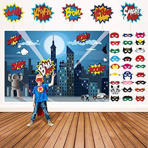 Superhero Party Supplies Kit with 7ft Superhero Backdrop, 28 Superhero Masks & 6 Superhero Photo Booth Props in a Comic Book Gift Box ()