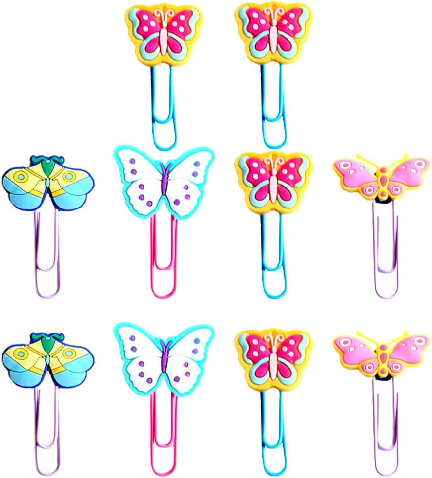 Gadpiparty 20 Unids Mariposas Marcador Clips de Papel Dibujos Animados Silicona Animal Libro Marcador Marcador de Libro Decorativo Papeler/ía Regalos