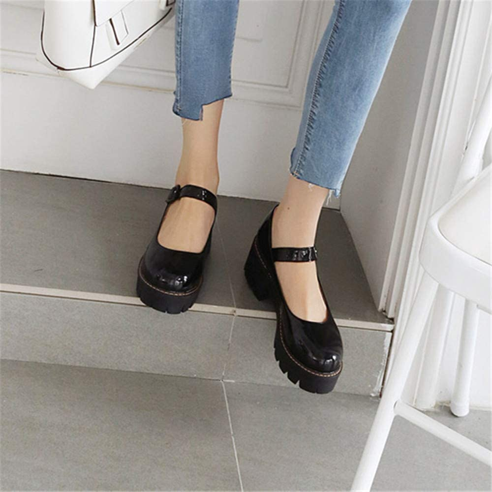 BloomSeas Buckle Mary Jane Pumps for Women 2 inch Block Heel PU Leather Round Toe Fashion Club Party Dress Pumps