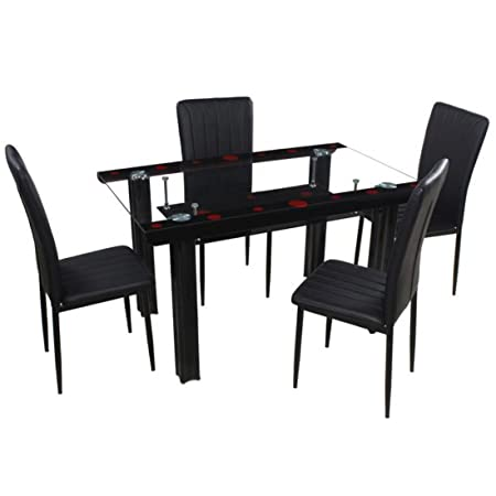 Woodness Ivy Glass 4 Seater Dining Table Set (Black)