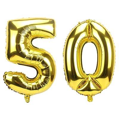 Ouinne Globo 50 Años, 40 Pulgadas Globo del Cumpleaños Número 50 Helio Globos para La Decoración Boda Aniversario (Oro): Juguetes y juegos