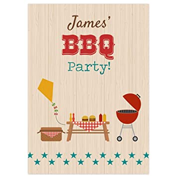 The Card Gallery PERSONALISED BBQ Birthday Party Invitations