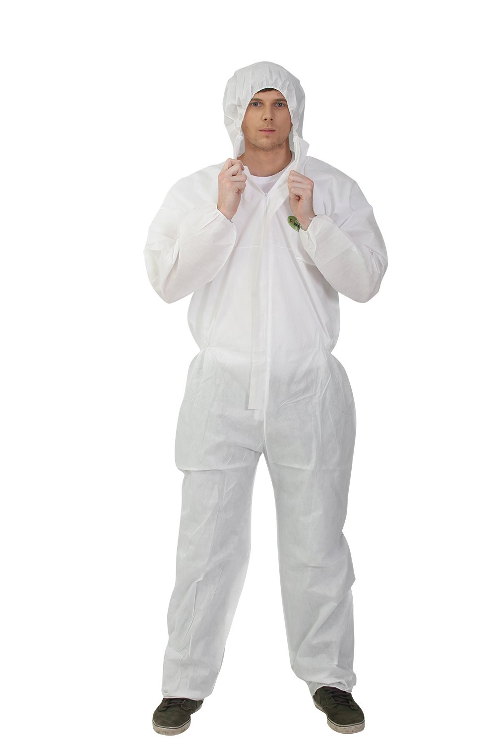 Raytex 5 Pack SMS Disposable Hooded White Coveralls Suit Chemical Protective Elastic Wrist Zipper Front Closure(2X-Large)