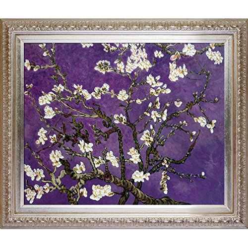 Painted Original Artwork - La Pastiche VG7028-FR-7870S20X24 Almond Tree In Blossom, Amethyst Purple Framed Hand Painted Original Artwork with Elegant Champagne Frame