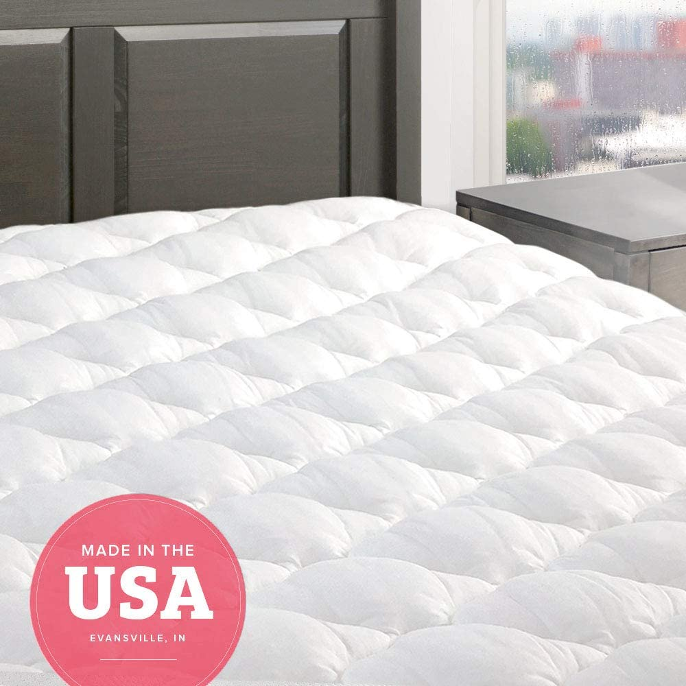 "eLuxurySupply Five Star Mattress Pad - Premium Extra Plush Mattress Topper w/Fitted Skirt - Down Alternative Pillow Top Mattress Cover Made in The USA Fits Mattresses Up to 18"" - Full Size"