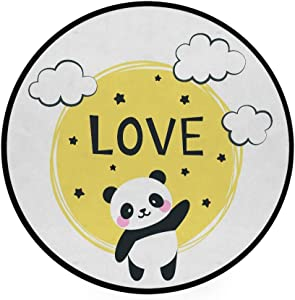 Area Rug Round Crawling Mat Panda Baby Love Living Room Bedroom Home Decor Non-Slip Carpet Soft Floor Rugs Diameter 92 cm