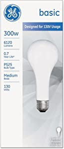 General Electric 73790 Standard Incandescent Light Bulbs 300 Watt, Frost