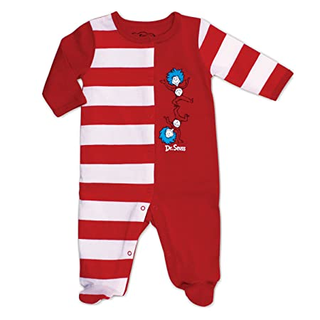 Amazon.com: Bumkins Dr. Seuss Footed Sleeper, Red Stripe, 3 Months ...