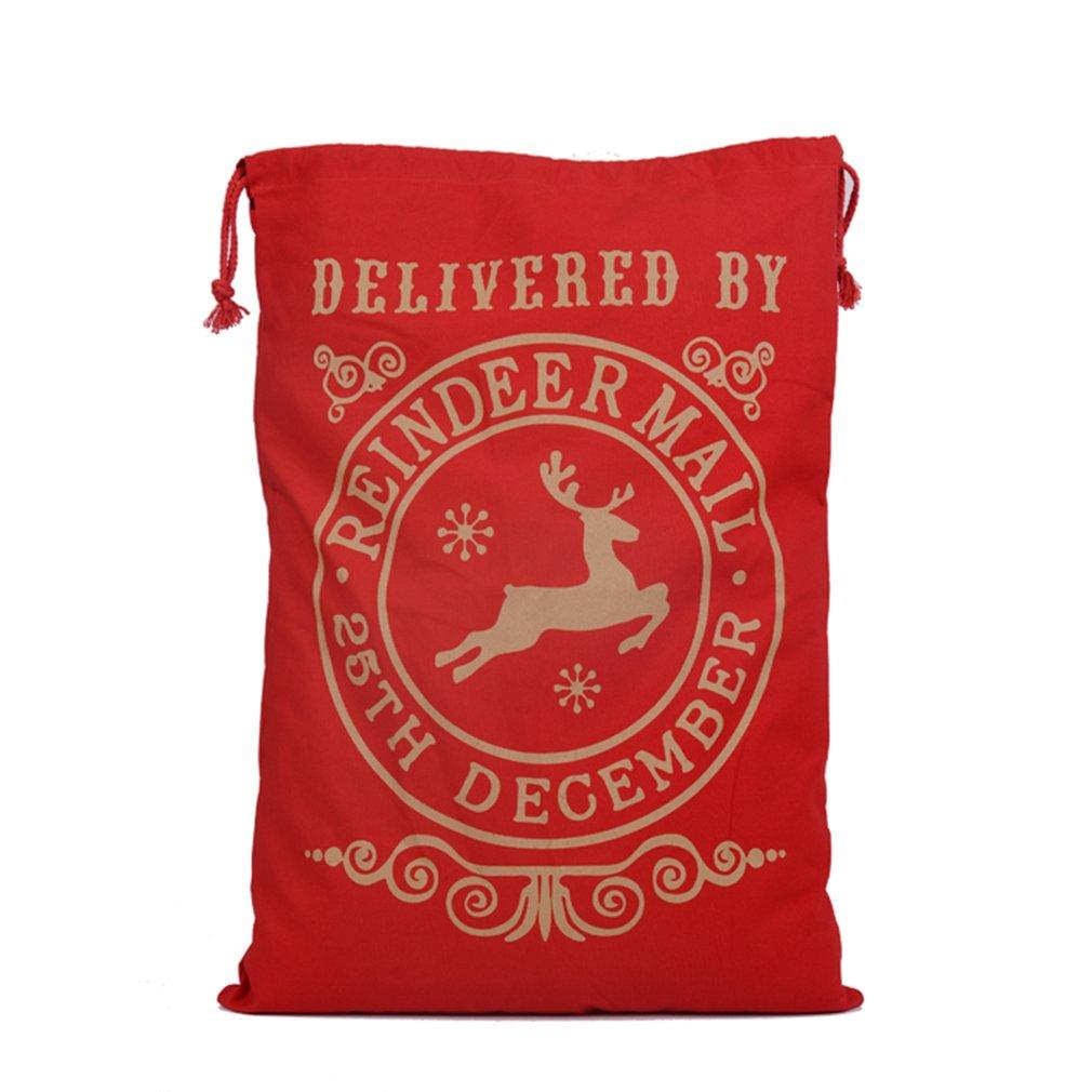 FDBF Creative Drawstring Canvas Santa Sack Rustic Vintage Bag Red