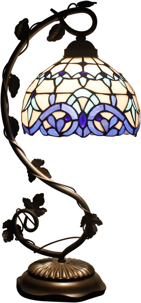 Tiffany Lamp White Blue Stained Glass and Baroque Style Table Lamps Wide 8 Inch Height 21 Inch for Living Room Antique Desk Beside Bedroom S003B WERFACTORY