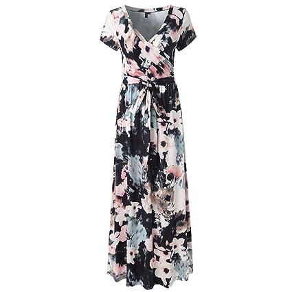 be35ac898d0a Amazon.com: Women's Short Sleeve Bandage Split Wrap Floral Print Flowy  Party Maxi Dress (Black B, L): Kitchen & Dining