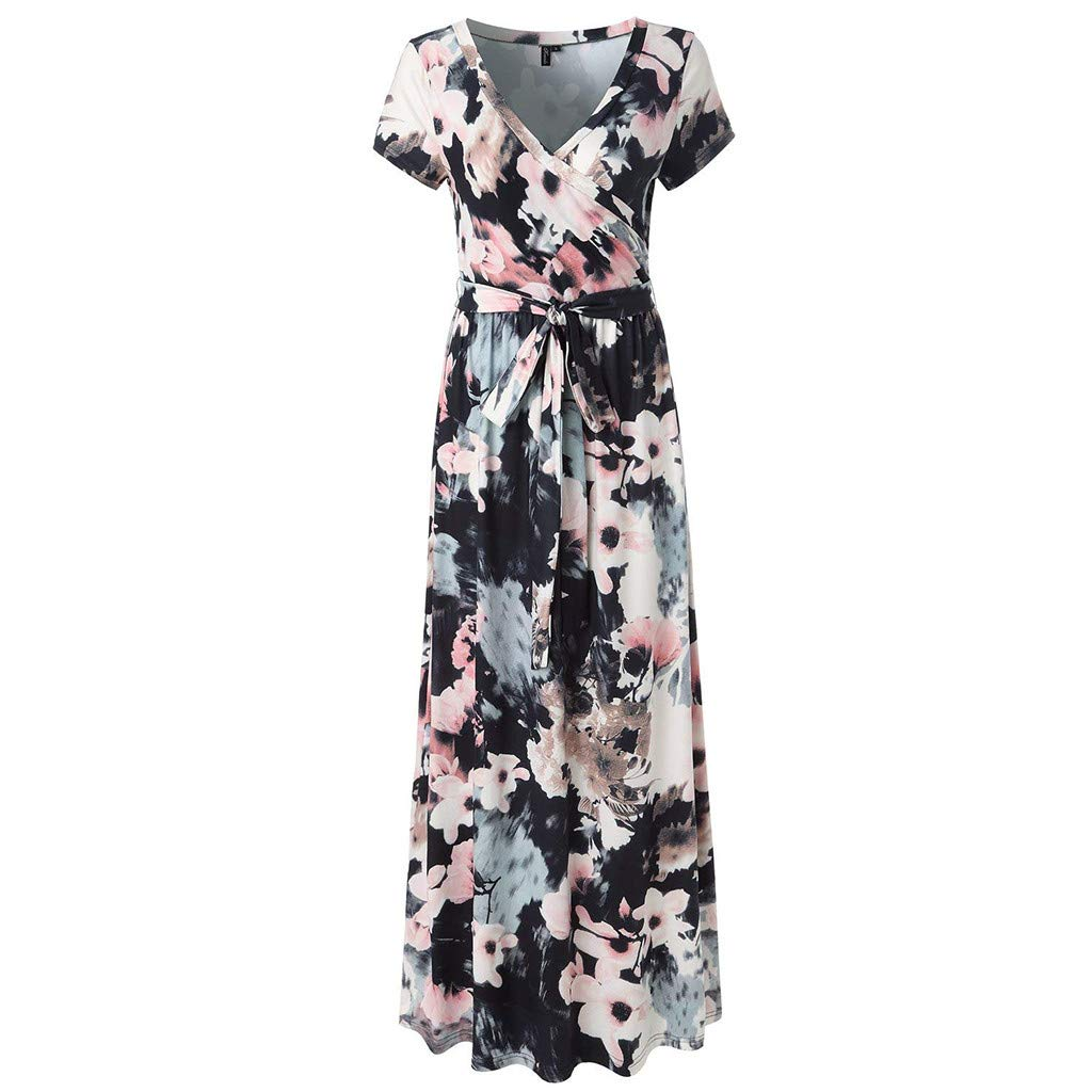 Fanyunhan Women Vintage Short Sleeve V-Neck Dress Flower Print Sundress Sexy Evening Party Maxi Dress with Sashes White