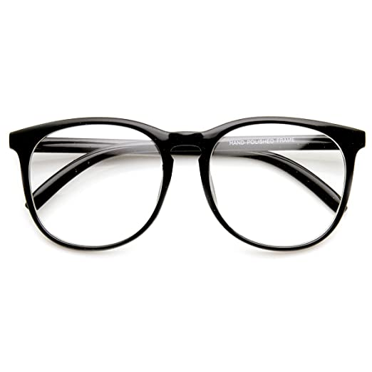 ce54712c52f Amazon.com  Vintage Inspired Oversized P3 Circa 80s Keyhole Clear Lens  Glasses (Black Clear)  Clothing