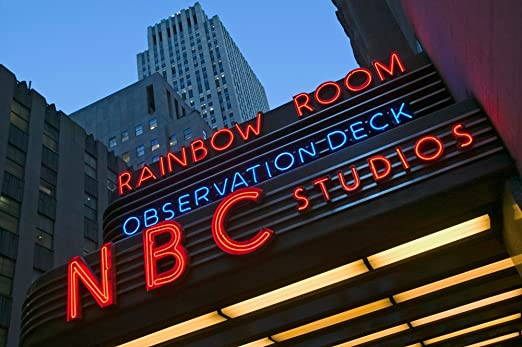 Amazon Com Neon Lights Of Nbc Studios And Rainbow Room At Rockefeller Center New York City New York Poster Print By Panoramic Images 36 X 24 Posters Prints