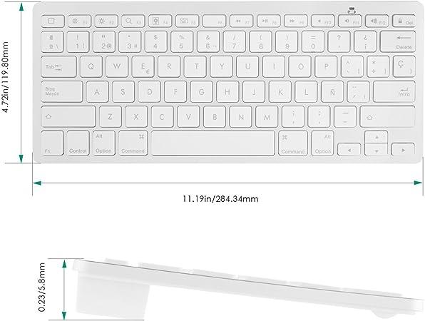 Aukey KM-B1 Mini Teclado inalámbrico con Bluetooth 3.0 (310g, QWERTY español, iPhone, iPad e iMac), Blanco (Blanca)