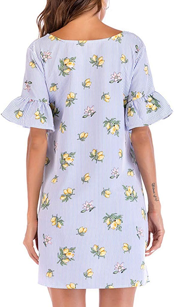 general3 Women Summer Stripe Floral Print Butterfly Sleeve O-Neck Casual Straight Mini Dress