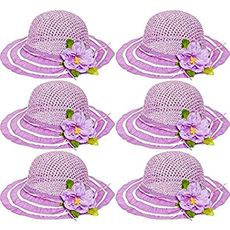 6 Pack Cutie Collections Girls Tea Party Flower Costume Sun Hats Purple